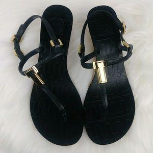 Tory Burch PAULINE Wedge Sandals Black Leather